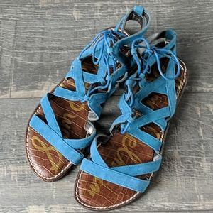 Sam Edelman Gemma Lace-Up Leather Sandals BX154